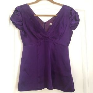 Nanette Lepore Beautiful Silk Blouse 2 Purple Puff